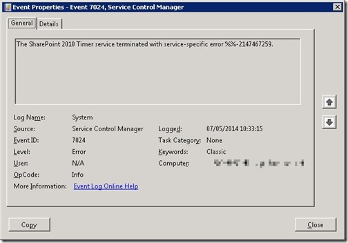 The SharePoint 2010 Timer service terminated with service