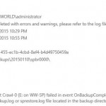 SharePoint 2013 backup fails - Object Crawl-0 (E: on WW-SP) failed in event OnBackupComplete